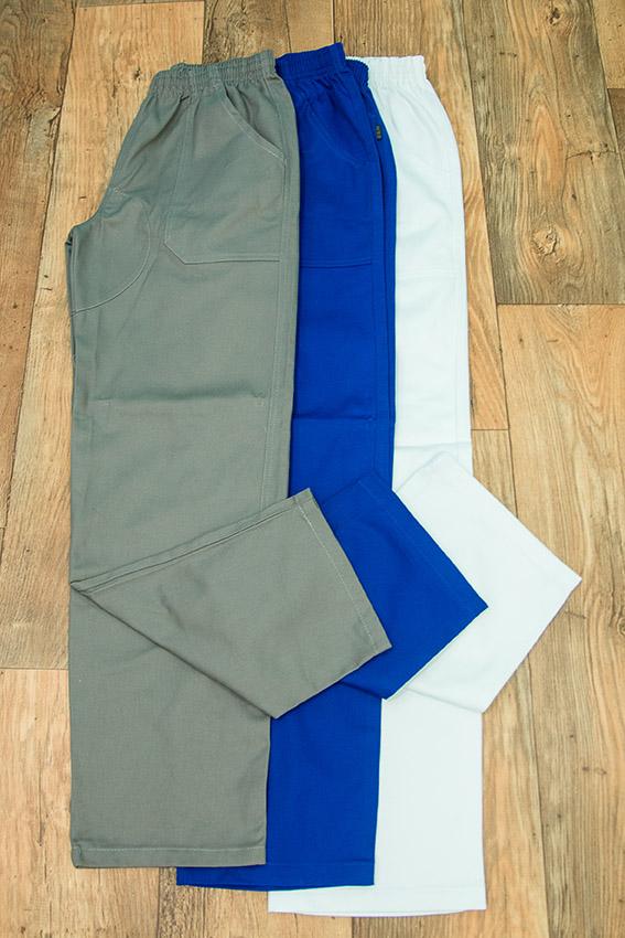AIBJ Uniformes Calça Brim Elástico Cinza Azul Royal e Branca